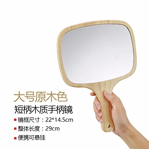 STAZSX Hand und Griff aus Holz Princess SpiegelTragbare Kosmetikspiegel kann aufgehängt werden handheld Make-up-Spiegel,Großer Griff aus Holz Spiegel (Holz) (Löwen Make Up)
