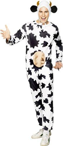 Smiffys, Unisex Kuh Kostüm, Jumpsuit mit Euter und Kopfteil, Größe: One Size, 29115