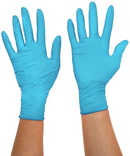 Semperguard 3000004102 Xtension Extra langer Einmalschutz und Untersuchungshandschuh aus Nitrillatex, puderfrei, Größe L, 8-9, Blau (100 er-Pack)