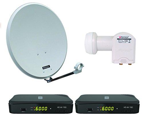 Opticum Digitale 2 Teilnehmer Satelliten-Komplettanlage HD AX 150 HDTV-Receiver (Opticum Twin-LNB, Opticum QA 60 cm Antenne Lichtgrau Stahl)