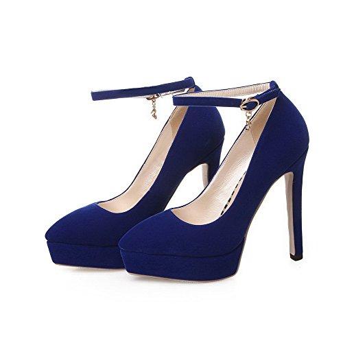 VogueZone009 Femme Couleur Unie Dépolissement à Talon Haut Boucle Pointu Chaussures Légeres Bleu