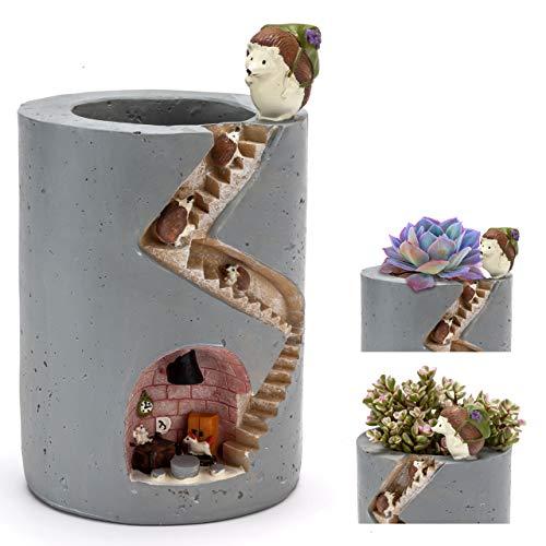 Chasbete vaso design moderno per fiori e piante decorato con famiglia di ricci vaso alto da interno colorato in resina idea regalo originale