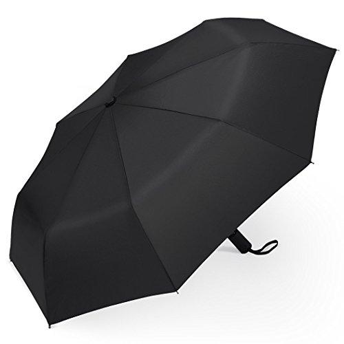 Regenschirm | Satu Brown Automatischer Taschenschirm mit 190T Stoff | Automatisches Öffnen und Schließen | Kompakter Reiseschirm für Frauen und Männer | Sturmfest Windfest Stabil Klassisch Schwarz
