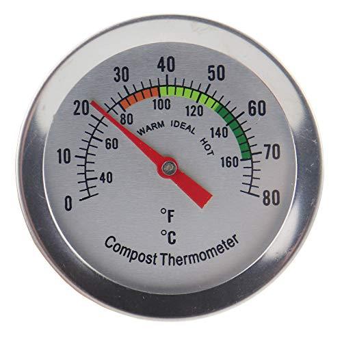 Kompost Thermometer-Edelstahl Zifferblatt Thermometer für Home und Backyard Kompostierung-60mm Durchmesser C & F Zifferblatt, 295mm Temperatur Sonde (Edelstahl-kompost-thermometer)