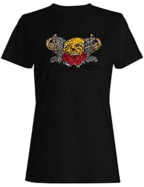 Novedad divertida del arte del cráneo de las del día de san valentín camiseta de las mujeres nn67f