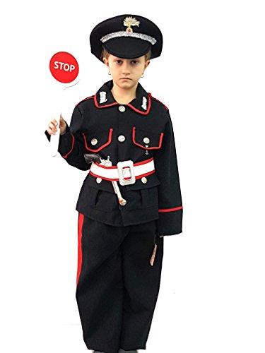 Novità vestiti carnevale travestimento maschera cosplay halloween gioco personaggio film carabiniere guardia armata giacca pantalone cintura cappello paletta stop tg 3 anni