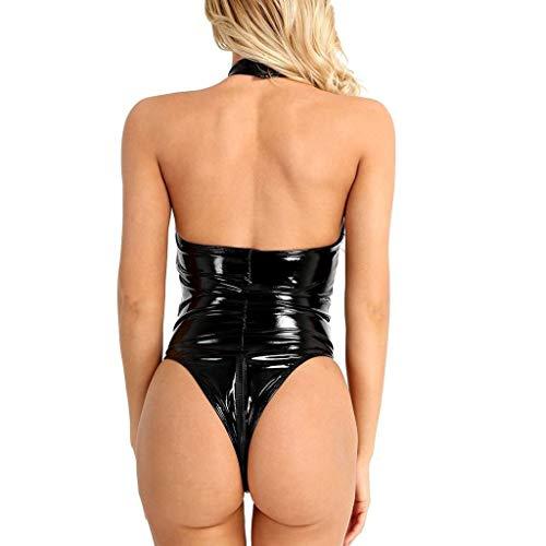 ALISIAM Unterwäsche Damen Erotik Set Frauen Dessous, Plus Size Leder Sexy Ärmel Bodysuit Backless Slim Fit Kleid Sexy Unterwäsche Perspektive Saum-Body Eng Kurz Nachtwäsche Schwarz -