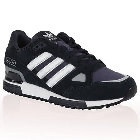 Adidas Originals ZX 750 Wildleder-Herrenturnschuhe, Marineblau/Weiß, 3-Streifen-Design, schwarz - schwarz - Größe: EUR