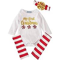 3 Piezas para niños pequeños para niños pequeños + Leggings + Cuello Largo Bebé Ropa de Navidad Body de Manga Larga para bebés recién Nacidos All Seasons Use - Blanco, Rojo y Dorado, 100 cm