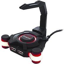Mars Gaming MMS1 - Hub USB con soporte para el cable del ratón (4 puertos USB 2.0, LED rojo), color negro
