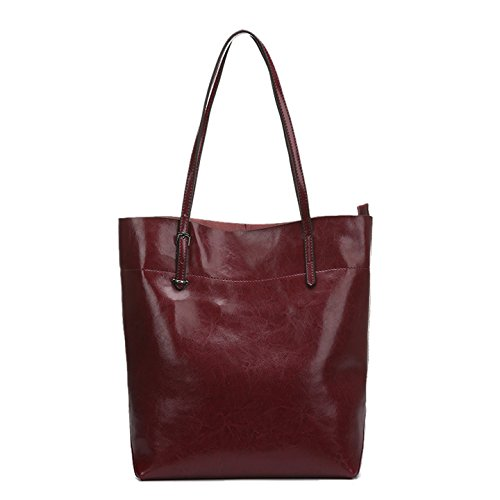 Valin Q0547 deman Leder Handtaschen Top Handle Satchel Tote Taschen Schultertaschen ,30.5x37x13.5cm (B x H x T) Rot