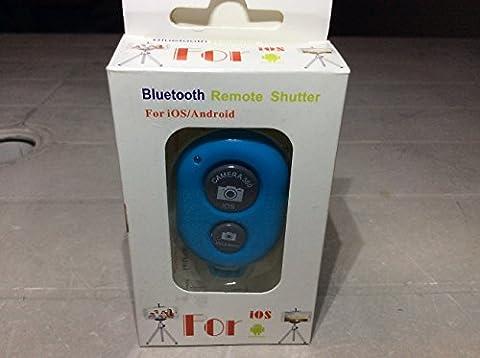 Bluetooth Fernsteuerung von CamKix - Drahtlose Fernbedienung für Smartphones - Geeignet für Kamera-Auslöser für Fotos und Selfies - Kompatibel mit Apple IOS und Android / iPhone / iPad / Samsung Galaxy und anderen Handys und Tablets / Ebenfalls im Lieferumfang enthalten: CamKix Einstellbare Handschlaufe (blau