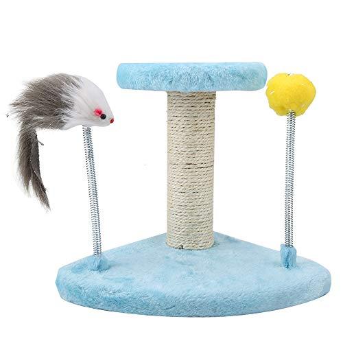 HEEPDD Pet Cat Scratching Post Pole Stilvolle Kratzbäume Activity Center Spielen Spielzeug Klettern Kauturm Scratcher mit Ratte und Plüsch Ball - Plattform Top Basis