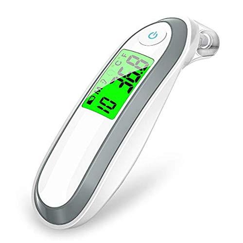 QINAIDI Digitales Ohr- und Stirnthermometer, Fever Alert Silent Mode, für Babys, Kinder und Erwachsene,Gray