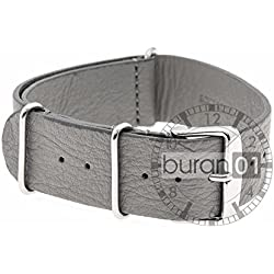 VK von Bura n01. com Leather Military Watchband Grey 18mm Watch Strap