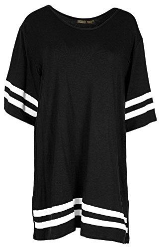 Neue Frauen in ÜbergrößeCap Sleeve Varsity Gestreifte sackartiges TShirt  Oberteile 3650 Black