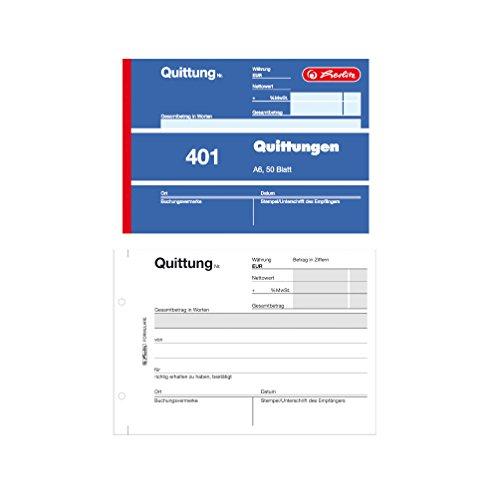 Herlitz Quittungsblock 401, A6 quer, 50 Blatt