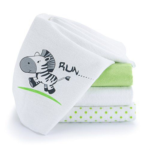 Spucktücher / Moltontücher - 4er Pack - 80 x 80 cm | Schadstoffgeprüft, Öko-Tex Standard 100, kuschelig weich & saugstark, waschbar bei 60° C - bedruckt, Zebra Weiß Grün (Mädchen Wie Heben Ein Sie)