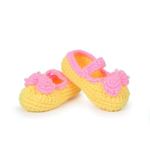 Smile YKK 0-12 mois Bébé Chaussure Tricot Aimable Avec Nœud Papillon Chaud Souple Pantoufles A la main Jaune