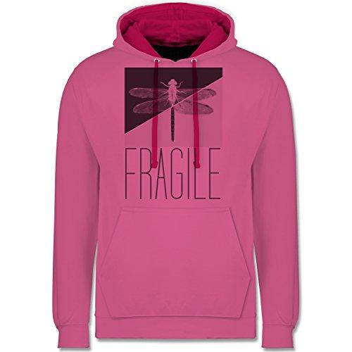 Statement Shirts - Fragile - Libelle - Kontrast Hoodie Rosa/Fuchsia