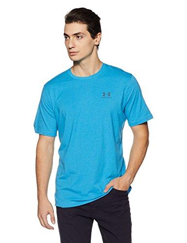Under Armour Herren Cc Left Chest Lockup Fitness T-Shirt, Blue Shift Medium Heather/Graphite, L V-neck Shift