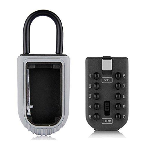 nuzamas Realtor Key Lock Box Sicher, LOCKBOX 10-stelligem Push Button Kombination sicher Vault–Tragbar Outdoor Stor ein Schlüssel, Tür Griff oder Zaun Halterung (Tür-zugangs-button)