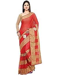 Sarvagny Clothing Women's Red Kota Cotton & Silk Cotton Blend Fashion Saree With Blouse Piece