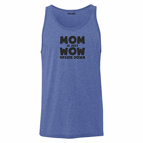 Brand88 - Mom is Just WoW Upside Down, Unisex Jersey Weste Blau Meliert