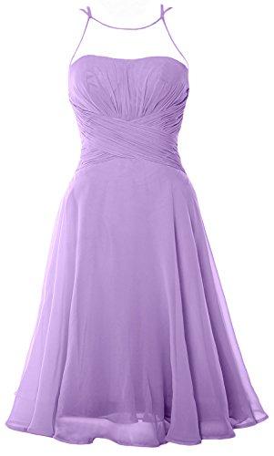 MACloth Elegant Illusion Short Cocktail Dress Chiffon Wedding Party Formal Gown Lavande