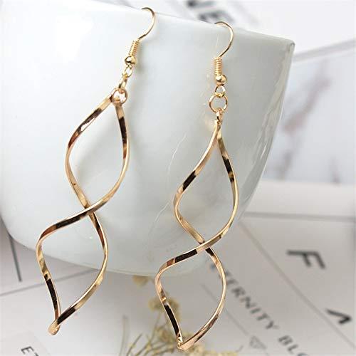 LEIANDYAN Gold Splitter Ohrringe Für Frauen Drehen Form Ohrringe Modeschmuck Lange Ohrringe Gold