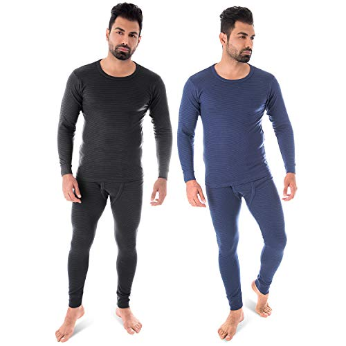 Black Snake Thermounterwäsche   2er Set   Herren Thermo Unterwäsche Set   langarm Unterhemd + lange Unterhose - Jeansblau/Anthrazit - 8/XXL -