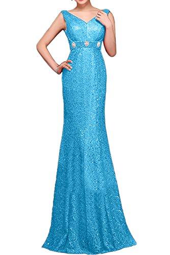 Gorgeous Bride Elegant Lang V-Ausschnitte Meerjungfrau Satin Spitze 2017 Abendkleider  Lang Cocktailkleider Ballkleider Blau