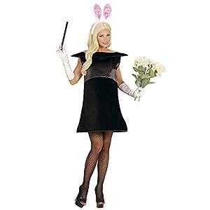 WIDMANN 02879?Adultos Disfraz mágico Conejos, vestido y orejas, Negro, Tamaño L/XL