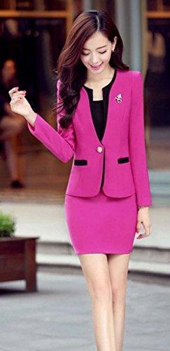 Yinxiang Liying Sexy Femme Gilets de tailleur Tailleurs jupes Rose Rouge