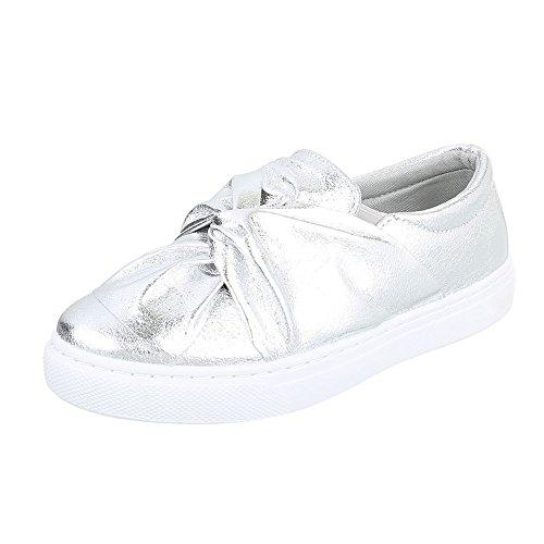 Ital-Design Slipper Damen-Schuhe Low-Top Moderne Halbschuhe Silber, Gr 38, 6677-P-
