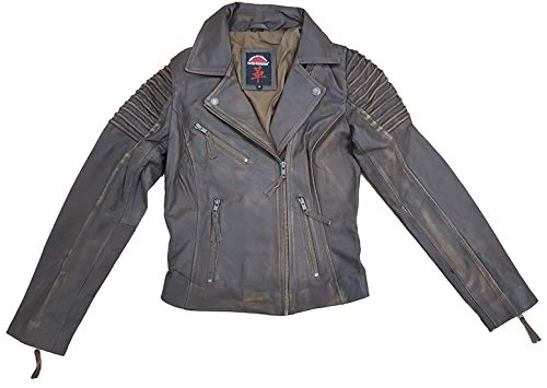 Osaka exchange giacca da motociclista moderna in vera pelle da donna