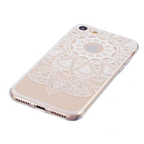 MUTOUREN iPhone 7 TPU Hülle Schutzhülle Crystal Case Durchsichtig Klar Silikon Transparent Ultradünne Weich Gel Hinten Rückdeckel Kratzfeste Federung Etui Bumper-Blumen Weiß