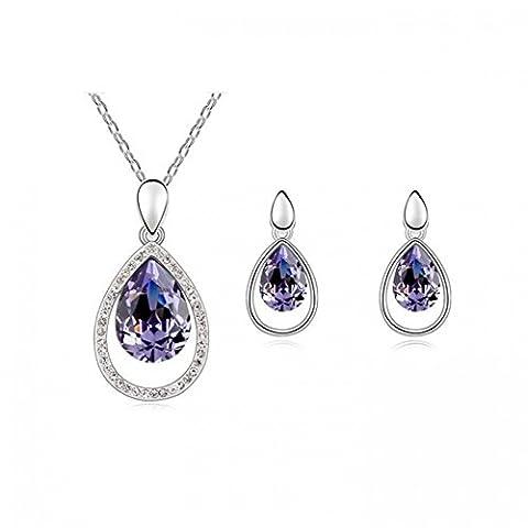 Parure cercle goutte cristaux swarovski elements plaqué or blanc Couleur Violet