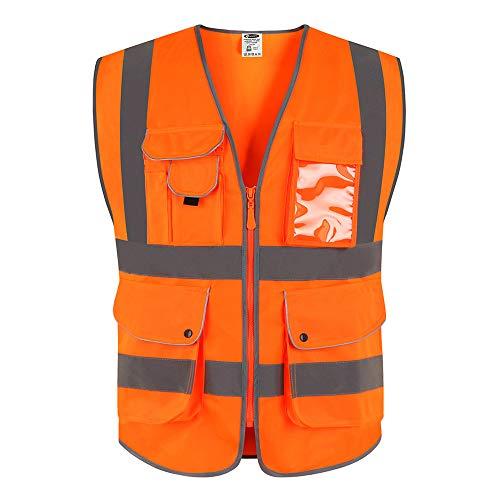 """JKSafety 9 poches de classe 2""""gilet de sécurité haute visibilité devant avec des bandes réfléchissantes, orange répond aux normes EN ISO 20471 - Unisexe(Moyen)"""