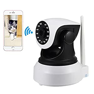 NEXGADGET Telecamera di Sorveglianza WiFi con Visione Notturna 720P Wireless, Obiettivi Ruotabile, Audio Bidirezionale, Modalità Notturna a Infrarossi, Controllo Remoto, Compatibile con iOS e Android e PC