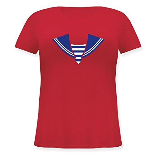 Karneval & Fasching - Matrose Kostüm Kragen - L (48) - Rot - JHK601 - Lockeres Damen-Shirt in großen Größen mit Rundhalsausschnitt (Matrose Kostüm Plus Size)