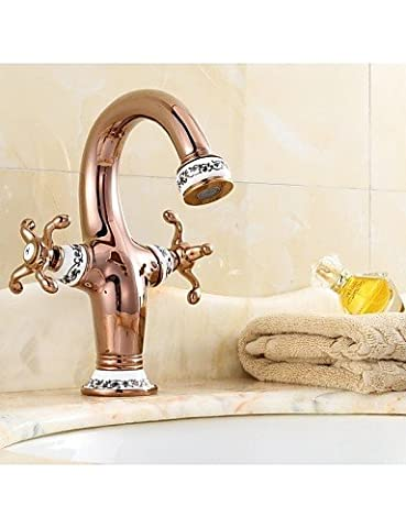 XX&GX Centerset Two Handles One Hole in Antique Brass Bathroom Sink Faucet , rose