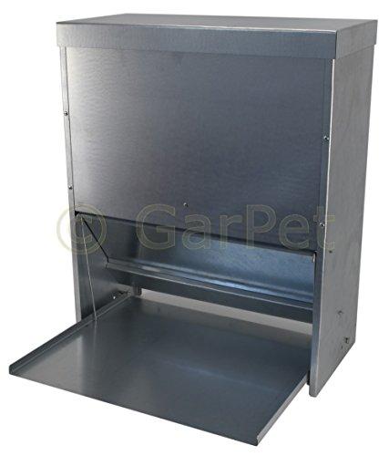 Hühner Geflügel Futterautomat mit Tritt Klappe Platte Futter Trog Spender Silo (Futterautomat 40 L) - Stahl-trittbrett