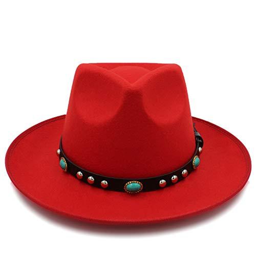 Shuo lan hu wai New Cappello Fedora Autunnale con Cinturino in Metallo a  Falda Larga in 2a852e56c9b4