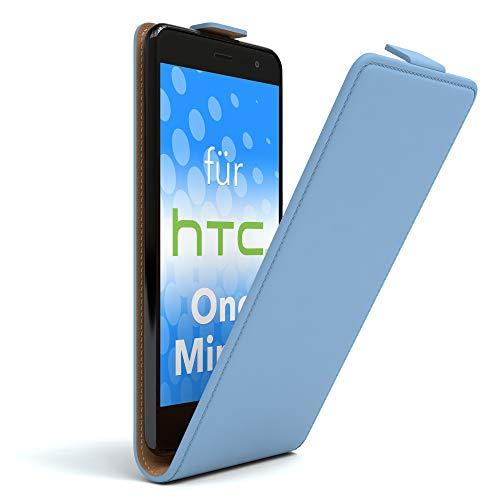 EAZY CASE HTC One Mini 2 Hülle Flip Cover zum Aufklappen, Handyhülle aufklappbar, Schutzhülle, Flipcover, Flipcase, Flipstyle Case vertikal klappbar, aus Kunstleder, Hellblau