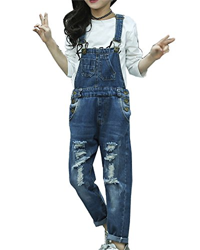 Mädchen Jeanshose Mit Latz Denim Latzhose Kleinkind Hosenträger Jeans Overall Jeans Hosen Blau 160