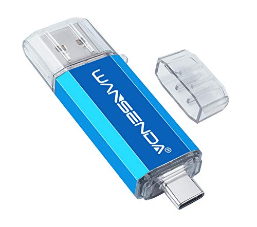 Pen Drive USB 64GB Penna USB 2 IN 1 USB 3.0 Type C Chiavetta USB 64GB Pennetta USB OTG USB Flash Drive For Type C Android Smart Phone Devices/Tablets/PC/Mac (64G,Blu)