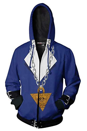 MingoTor Herren Damen für Fudo Yusei Yu-Gi-Oh! Kapuzenjacke 3D Pullover mit Kapuze Sweatjacke Hoodie Cosplay Kostüm Unisex