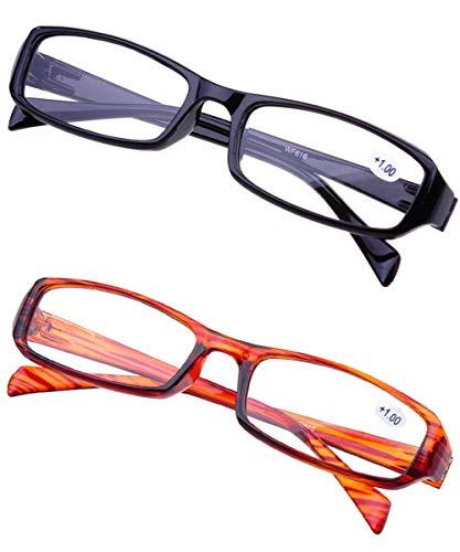 KOOSUFA Lesebrillen herren Damen Augenoptik Lesehilfe Stärken schwarz braun lesebrille set 1.0 1.5 2.0 2.5 3.0 3.5 4.0 (2 PCS(Schwarz + Braun), 3.5)