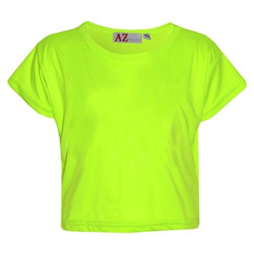 A2Z 4 Kids Mädchen Top Kinder Uni Farbe Stylisch Modisch Trendy T-Shirt Bauchfreies Top New 122 128 134 140 11 12 13 Jahre - Neongrün, 9-10 Years (T-shirt Mädchen 4 Top)
